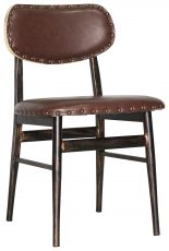 Block & Chisel brown faux leather dining chair with black metal legs