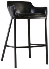 Block & Chisel black leather upholstered barstool with PU finish