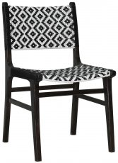 Block & Chisel black and white rattan weave dining chair with black wooden frame and legs