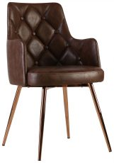 Block & Chisel brown diamond tufted leather upholstered occasional chair with PU finish