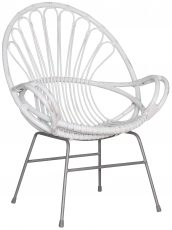 Block & Chisel white rattan armchair with flint grey metal legs