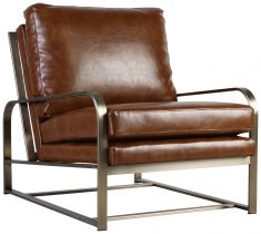Block & Chisel brown upholstered occasional chair with metal frame