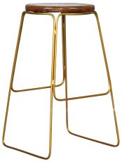 Block & Chisel teak root counter barstool with gold iron base