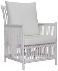 Block & Chisel white rattan chair with white cushions