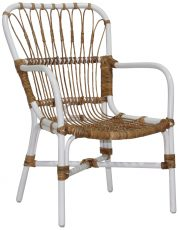Block & Chisel natural and white rattan side chair