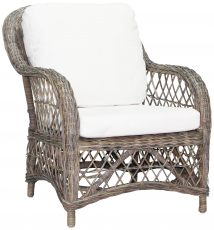 Block & Chisel antique grey rattan chair with white cushions