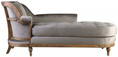 Block & Chisel grey velvet upholstered day bed with rubber wood legs