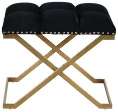 Block & Chisel black velvet upholstered stool