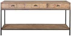 Block & Chisel rectangular reclaimed wood console table with iron legs