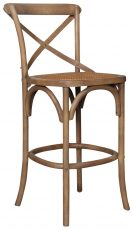 Block & Chisel elm wood barstool with rattan seat