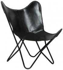 Block & Chisel black buffalo leather chair with iron frame