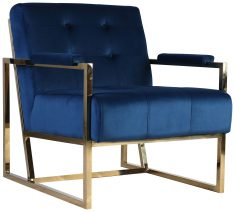Block & Chisel blue velvet upholstered occasional chair
