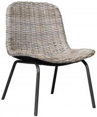 Block & Chisel white wash kubu rattan dining chair with iron legs
