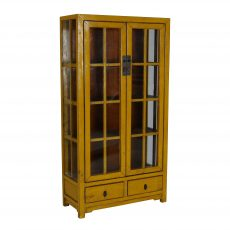 yellow lacquered chinese cabinet with glass doors