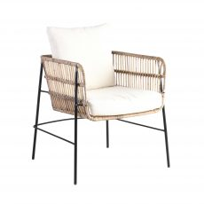 Block & Chisel koboo jawit natural rattan armchair with iron legs