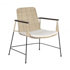 Rattan cane chair with iron frame and seat cushion