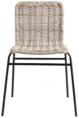 Block & Chisel slimit natural rattan dining chair with iron legs