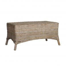 Rattan coffee table or ottoman angled