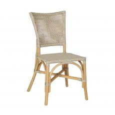 Woven rattan backrest dining chair in cream
