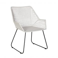 White faux rattan armchair with black steel legs