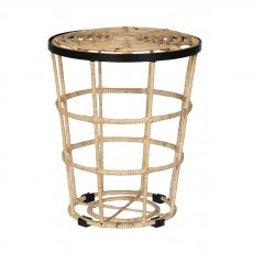 Rattan round stool, side table with black trim