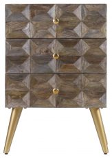 Block & Chisel mango wood bedside table with tapered metal legs