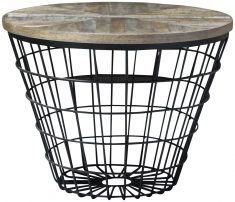 Block & Chisel round mango wood coffee table with metal basket base