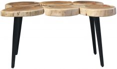Block & Chisel round acacia wood coffee table with matt black metal legs