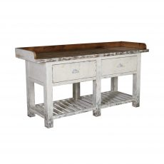 Rustic kitchen island with marble cutting board inlay