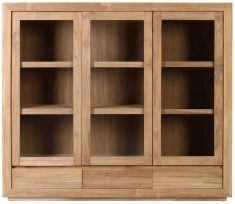 Block & Chisel teak wood sideboard with glass doors