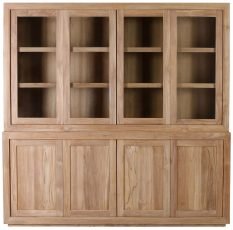 Block & Chisel teak wood display cabinet with glass doors