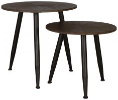 Block & Chisel round nesting coffee tables on tripod legs