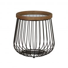 industrial caged side table with glass top