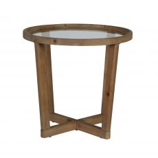Round wooden and glass side table