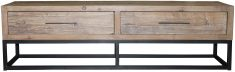 Block & Chisel old elm wood TV stand with iron base