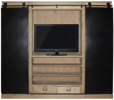Block & Chisel weathered fir wood tv unit with iron sliding doors