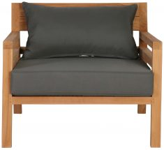 Block & Chisel outdoor teak armchair with grey cushions