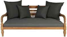 Block & Chisel outdoor teak daybed with grey cushions