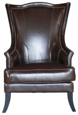 Block & Chisel brown leather wingback chair with studded trim