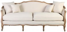 Block & Chisel linen upholstered 3 seater sofa with wooden frame