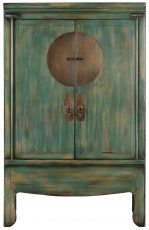Block & Chisel green wooden two door Chinese cabinet