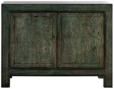 Block & Chisel wooden green 2 door Chinese buffet with 6 drawers