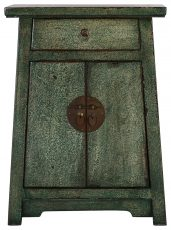 Block & Chisel green wooden 2 door Chinese cabinet with 1 draw