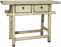 Block & Chisel cream distressed wooden console table