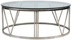 Block & Chisel round stainless steel coffee table with tempered glass top