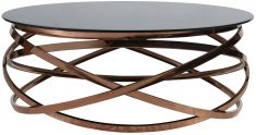 Block & Chisel rose gold coated chrome coffee table with tempered glass top