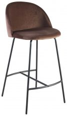 Block & Chisel brown velvet upholstered barstool