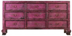 Block & Chisel oriental magenta 9 drawer sideboard with antique finish