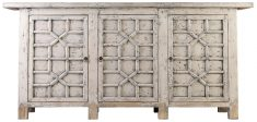 Block & Chisel antique finish oriental 4 door sideboard with flower detail