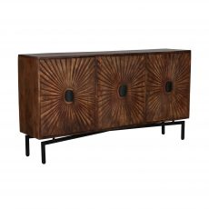 Sunburst decal wooden long brown server sideboard with metal legs